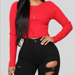 Red HALF ZIP CROP TOP